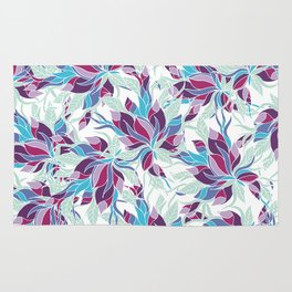 Modern purple turquoise fall floral pattern Rug
