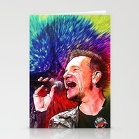 u2 Stationery Cards featuring U2 / Bono 3 by JR van Kampen