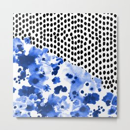 Monroe - painted abstract watercolor ink polka dots dotted indigo blue minimalism nursery Metal Print