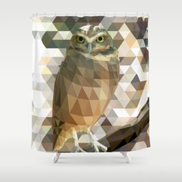 Burrowing Owl - Low Poly Technique Shower Curtain
