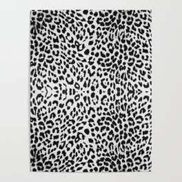 White Cheetah Print Poster