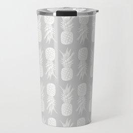 Pineapple Pattern | Gray | Minimalism | Tropical Print Travel Mug