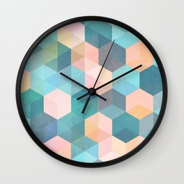 Child's Play 2 - hexagon pattern in soft blue, pink, peach & aqua Wall Clock