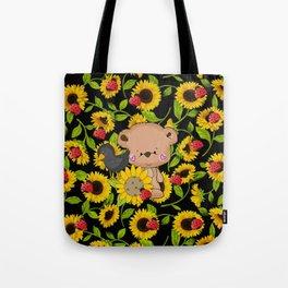 Sunflowers Bear And Black Crow Ladybugs Tote Bag