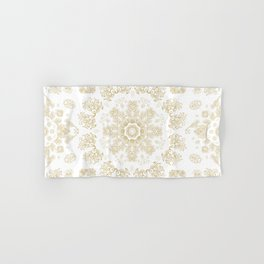Golden floral ornament Hand & Bath Towel