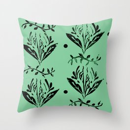 Cala Lily stamp pattern - in green Throw Pillow