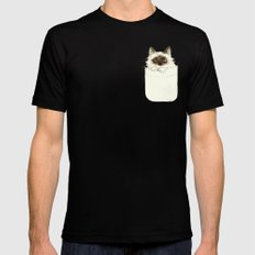Puss in Pocket (B) Mens Fitted Tee Black LARGE