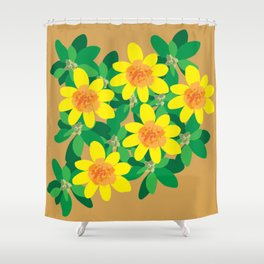 Primrose Flower Yellow Shower Curtain