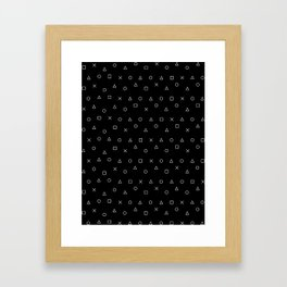 black gaming pattern - gamer design - playstation controller symbols Framed Art Print