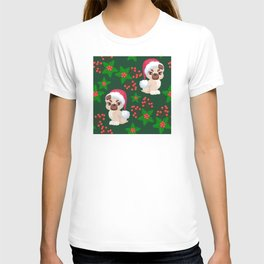 Cute, Cranky Christmas Puppies With Eyelash Extensions Pattern T-shirt