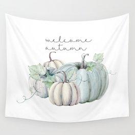 welcome autumn blue pumpkin Wall Tapestry
