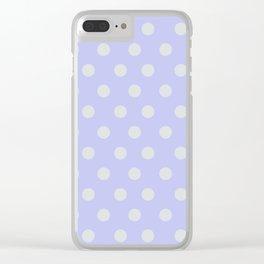 Blue Ultra Soft Lavender Thalertupfen White Pōlka Large Round Dots Pattern Clear iPhone Case