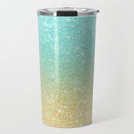 Modern robbin egg blue glitter ombre gold glitter Travel Mug