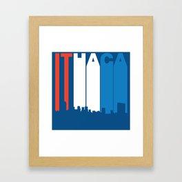 Red White And Blue Ithaca New York Skyline Framed Art Print