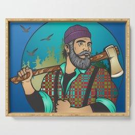 Hipster Lumberjack Blue Serving Tray