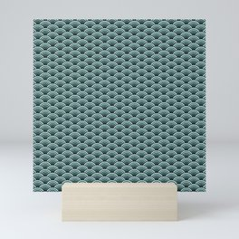 Deep Sea Green Blue Seigaiha Mini Art Print