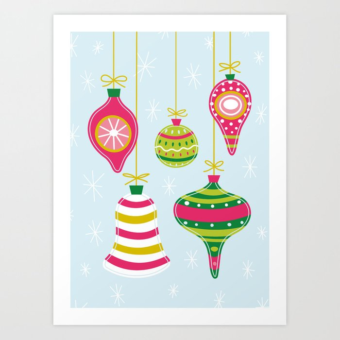 Vintage Christmas Ornaments Art Print