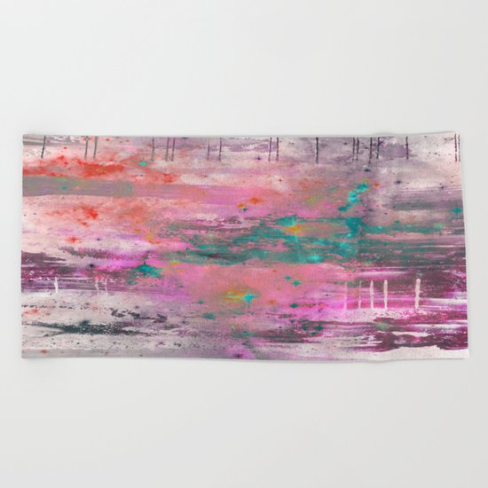 Mystical! - Abstract, pink, purple, red, blue, black and white painting Beach Towel