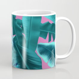 tropical banana leaves pattern pink Coffee Mug