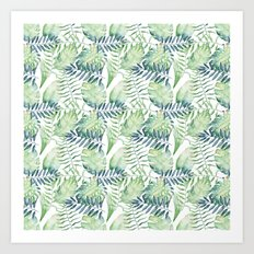 Tropical Green Blue Watercolor Leaves Art Print