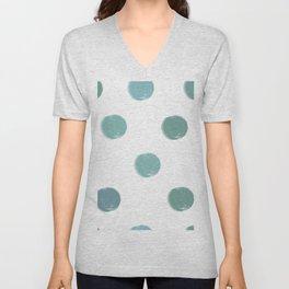 Abstract Modern Art 5 Teal Spots Unisex V-Neck