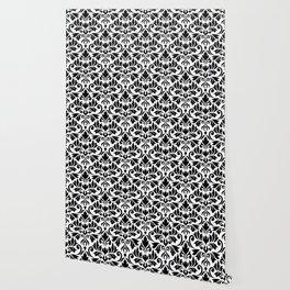 Flourish Damask Art I Black on White Wallpaper