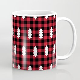 Camping Forest cabin chalet plaid red black and white minimal hipster gifts for festive christmas Coffee Mug
