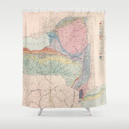 Vintage Geological Map of New York State (1870) Shower Curtain