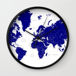 "Navy blue detailed world map with cities, ""Nevin"" Wall Clock"