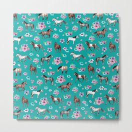 Horse Pattern, Floral Print, Turquoise, Little Girls Room, Horses Metal Print