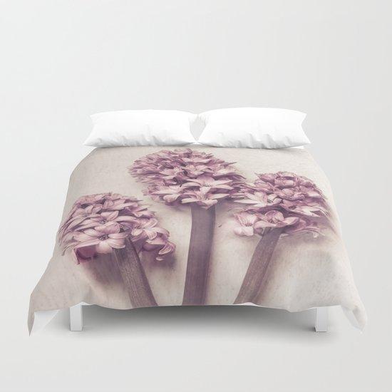 Three Pink Hyacinths Duvet Cover