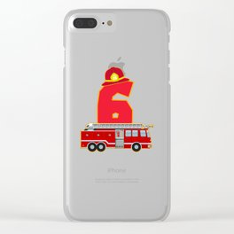 6th Birthday Fireman Firefighter Fire Truck Gift Clear iPhone Case