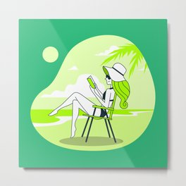 Chilling Woman on the Beach Metal Print