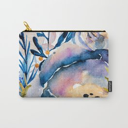 Flowers watercolor blue Carry-All Pouch
