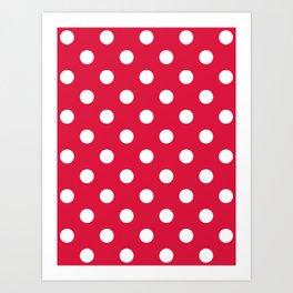 Polka Dots - White on Crimson Red Art Print
