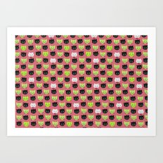 good kitty-bad kitty pattern PINK Art Print