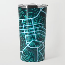 Astana, Kazakhstan, Blue, White, Neon, Glow, City, Map Travel Mug