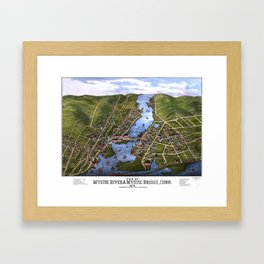 MYSTIC RIVER CONNECTICUT city old map Father Day art print Framed Art Print