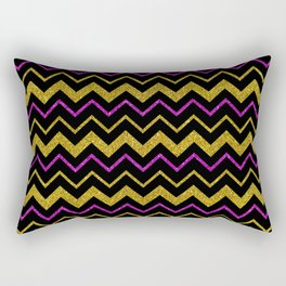 Black gold pink glitter chevron, minimalist, abstract pattern, glam, sparkle Rectangular Pillow