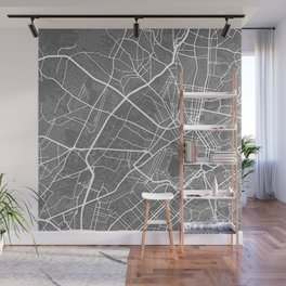 """ Travel Collection"" - Grey And White Minimal Athens City Map Wall Mural"