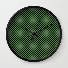 Hippie Green and Black Polka Dots Wall Clock