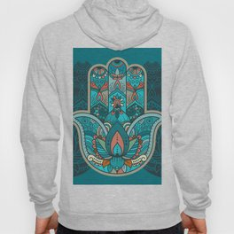 Hamsa Hand of Fatima, good luck charm, protection symbol anti evil eye Hoody