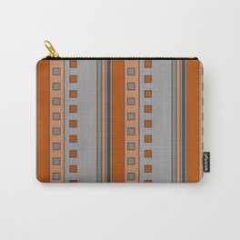Squares and Stripes in Terracotta and Gray Carry-All Pouch