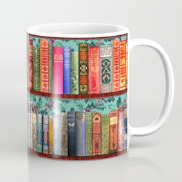 Vintage Books / Christmas bookshelf & holly wallpaper / holidays, holly, bookworm,  bibliophile Coffee Mug
