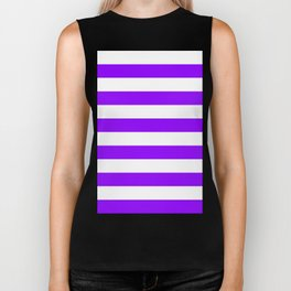 Horizontal Stripes - White and Violet Biker Tank