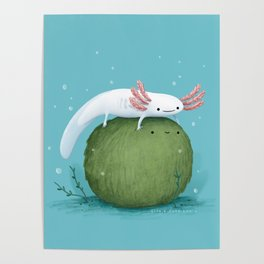 Axolotl on a Mossball Poster