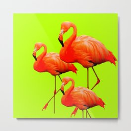 Decorative Tropical Flamingos Chartreuse Color Art. Metal Print