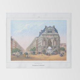 Paris Decor office decoration vintage decor FONTAINE St MICHEL of Paris Throw Blanket