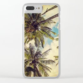 Vintage Blue Hawaii Palm Trees Clear iPhone Case