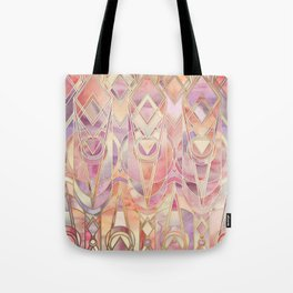 Glowing Coral and Amethyst Art Deco Pattern Tote Bag